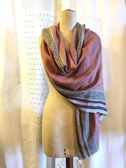 sciarpa cashmere | geometrico rosa e grigio