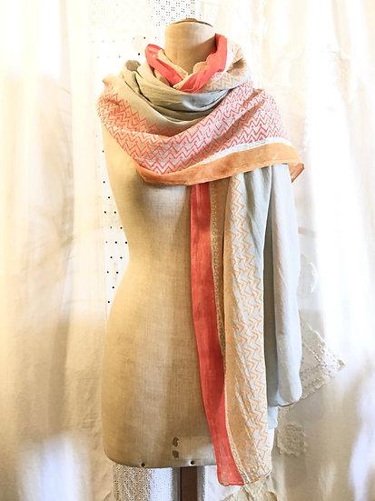 sciarpa cotone | mix con arancione