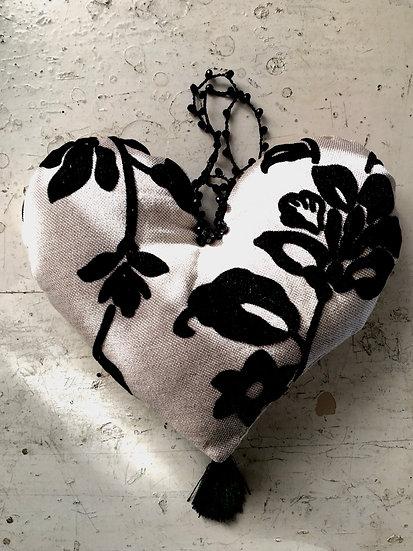 corazón | fiore in rilievo velluto nero