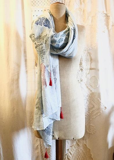 sciarpa cotone | azzurro e rosso
