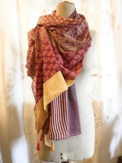 sciarpa cotone   colori bruciati