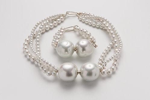 "Set: Necklace & Bracelet ""WONDERFUL PEARLS"""