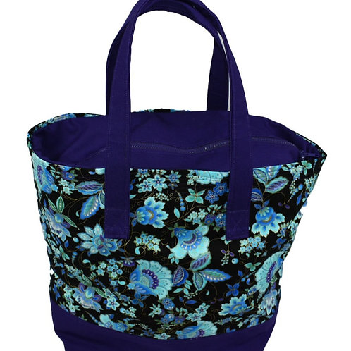Purple Floral Tote Bag with Zipper Top