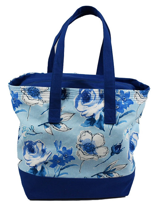 Blue Floral Tote with Zipper Top