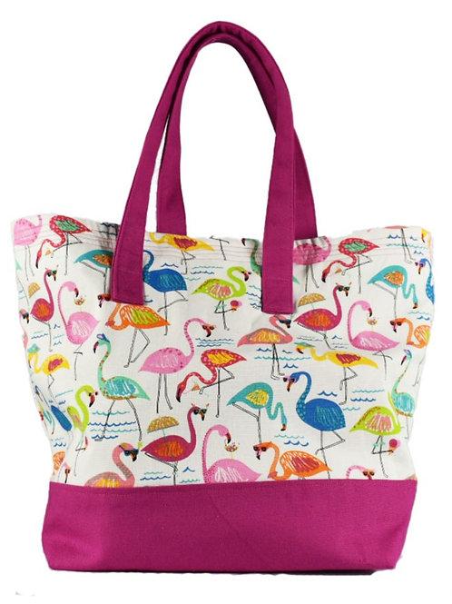 Flamingo Tote Bag with Zipper Top