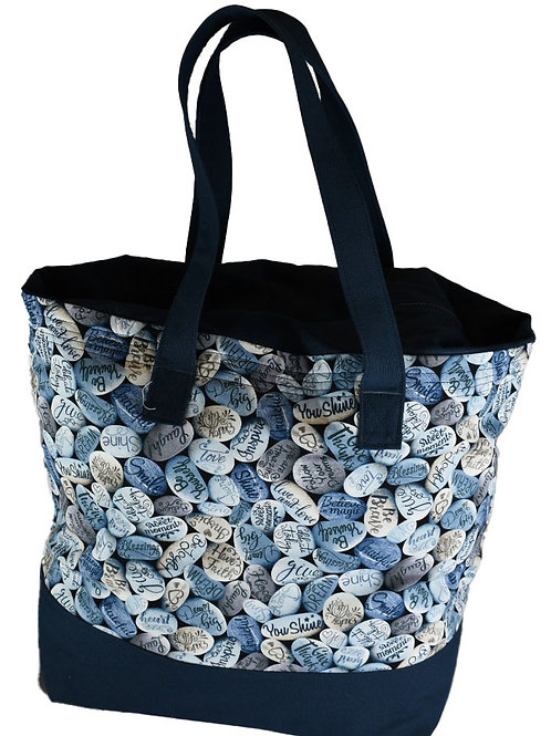 Blue Stone Tote with Zipper Top