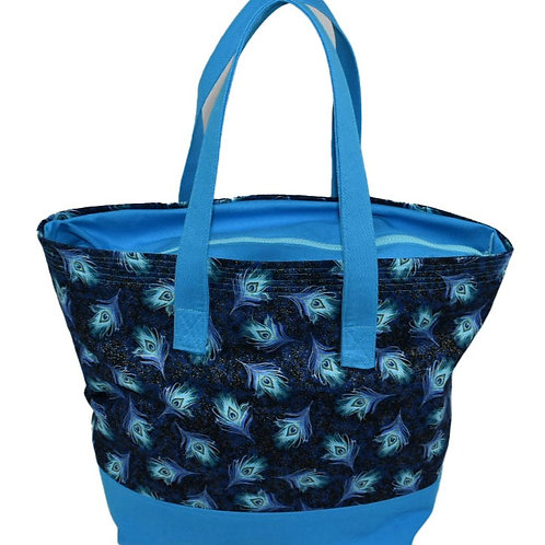 Peacock Feathers Tote Bag with Zipper Top