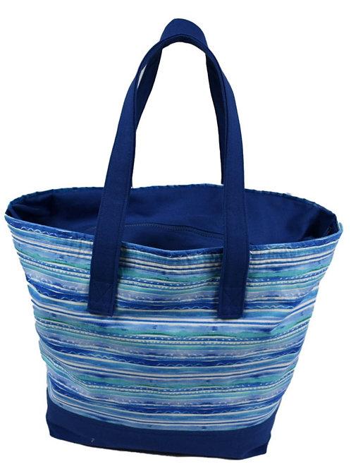 Blue Stripe Tote Bag with Zipper Top