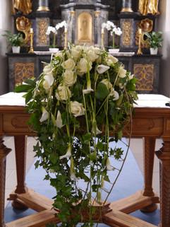 Altargesteck tropfenförmig weiss