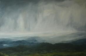 Kopce v dešti,  olej na plátně / Hills in the rain, oil on canvas – 125 x 180 cm  soukromá sbírka   private collection