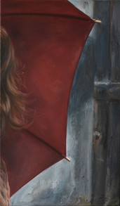 Dívka s deštníkem, olej na plátně / Girl with an umbrella, oil on canvas – 85 x 50 cm