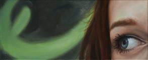 Poloportrét s klikyhákem, olej na plátně / Half-portrait with a green curve, oil on canvas – 25 x 60 cm