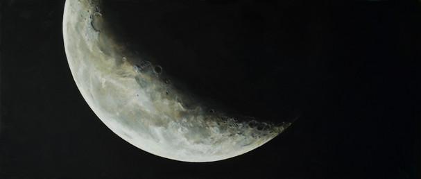 Měsíc ve čtvrtině před novem, olej na plátně – v soukromé sbírce / Moon in the quarter, oil on canvas – in a private collection – 85 x 200 cm