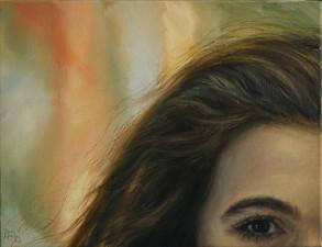 Poloportrét s oranžovo-zeleným pozadím, olej na plátně / Half-portrait with an orange background, oil on canvas – 42 x 55 cm