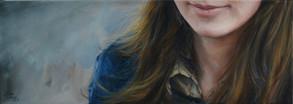 Poloportrét s bleděmodrým pozadím, olej na plátně / Half-portrait with a light-blue background, oil on canvas – 30 x 85 cm