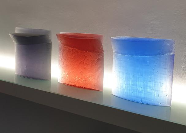 zleva: 1. V zimním čase, 2. Červánky  tavenice | melted glass  cca 45 x 40 x 10 cm