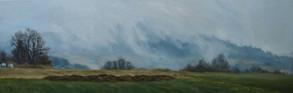 Široká krajina s mlhou, olej na plátně / Wide landscape with a fog, oil on canvas – 55 x 170 cm  soukromá sbírka   private collection
