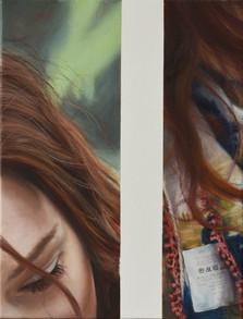 Poloportrét s cedulkou, olej na plátně / Half-potrait with a tag, oil on canvas – 55 x 42 cm