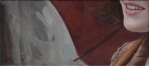 S deštníkem,  olej na plátně / With an umbrella, oil on canvas – 20 x 42 cm