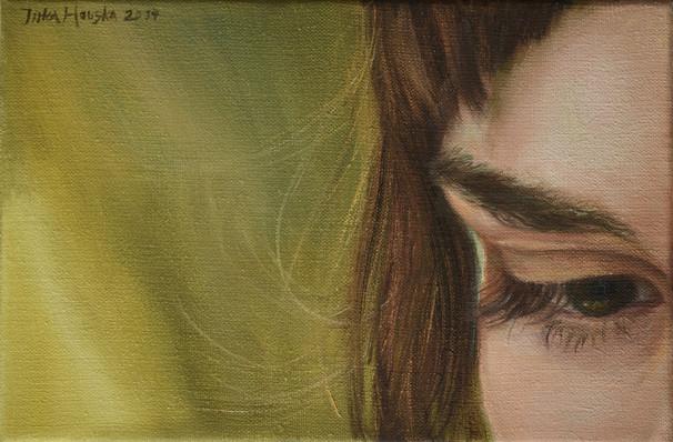 Soustředěný pohled, olej na plátně / Concentrated look, oil on canvas – 20 x 30 cm  soukromá sbírka | private collection