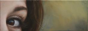 Oko se žlutým pozadím, olej na plátně / The eye with a yellow background, oil on canvas – 25 x 70 cm