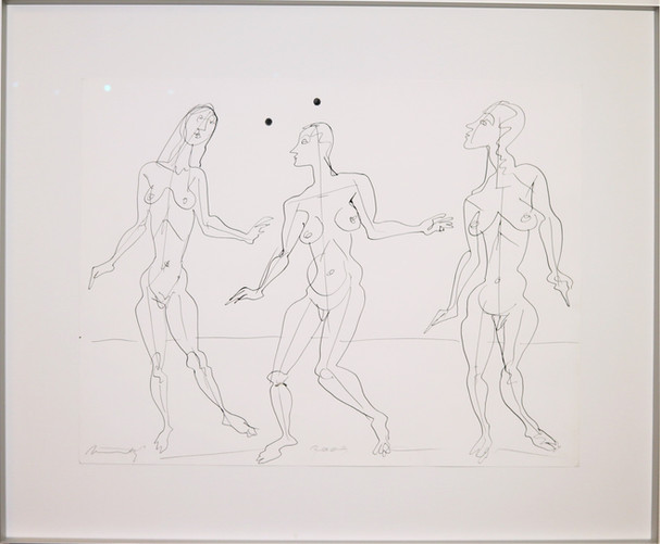 kresba na papíře  rámováno za UV sklem  formát cca A2