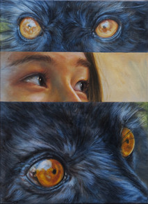 Mezi lemury v modro-žluté / Between two lemurs in blue-yellow