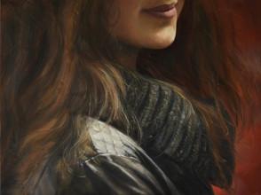 Poloportrét s červeným pozadím, olej na plátně / Half-portrait with a red background, oil on canvas – 75 x 100 cm