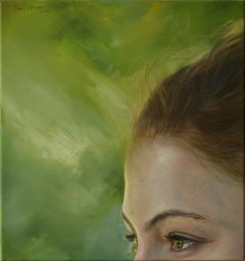 Poloportrét se zeleným pozadím, olej na plátně / Half-portrait with a green background 2, oil on canvas – 50 x 48 cm