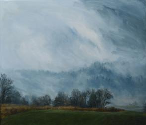 Mlha s polem,  olej na plátně / Fog with a field, oil on canvas – 105 x 90 cm