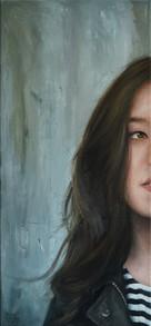 Vertikální poloportrét, olej na plátně / Vertical half-portrait, oil on canvas – 65 x 30 cm