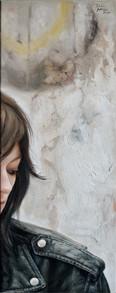 Dívka v křiváku, olej na plátně / Girl with a leather jacket, oil on canvas – 75 x 30 cm