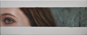 Poloportrét s betonovou zdí, olej na plátně, v soukromé sbírce / Half-portrait with a concrete wall, oil on canvas, in a private collection – 20 x 50 cm