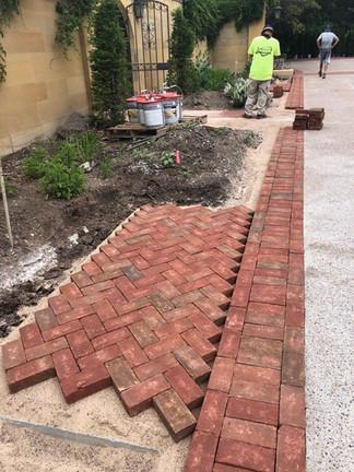 In progress brick paving in Oshkosh