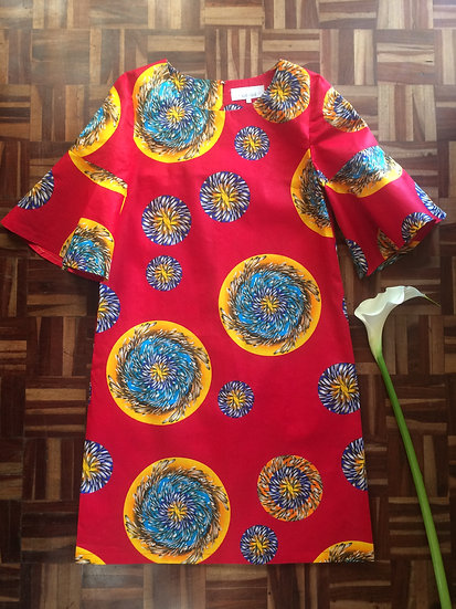 Shift Dress with short bell sleeves
