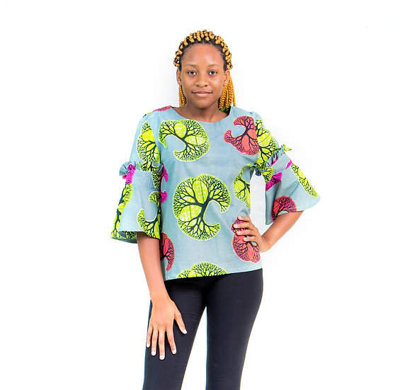 Top with Short Bell Sleeves