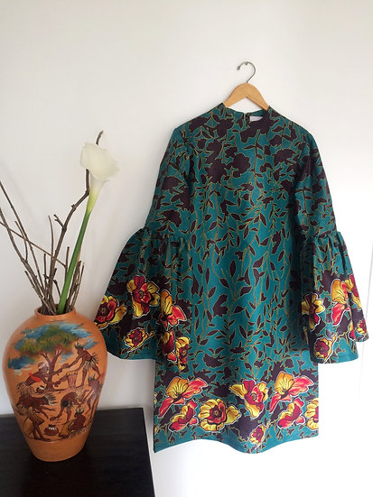 Dress with Long Bell Sleeves