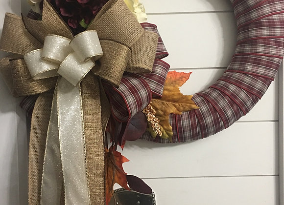 Fall Hydrangeas Ribbon Wreath