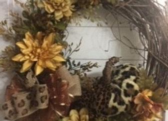 Fall Animal print Pumpkin/Ribbon Grapevine Wreath