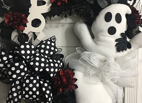 Ghost Boo Halloween grapevine wreath