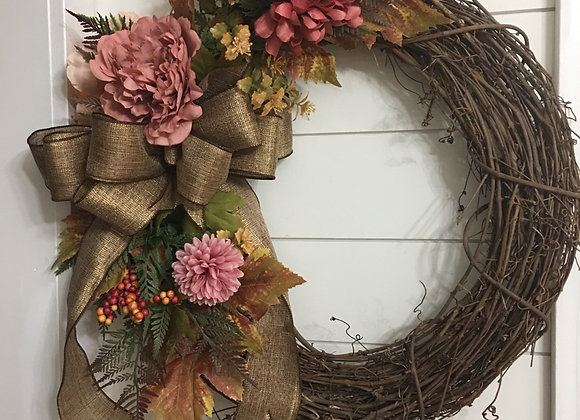 Mums and berries grapevine wreath