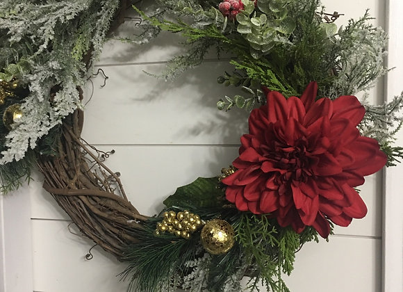 Red dahlia Christmas wreath