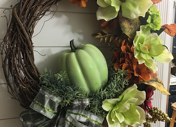 Lime Magnolias and Pumpkin Grapevine Wreath