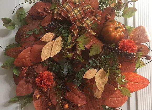 Magnolia leaves and Pumpkin Grapevine Wreath