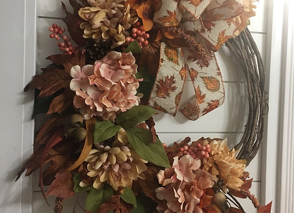 Mauve and brown Fall Grapevine Wreath