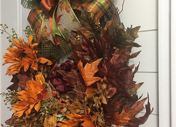 Orange Sunflowers Oval Grapevine Wreath