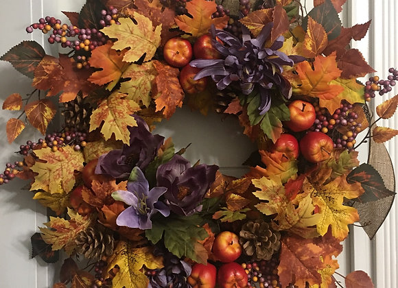Apples and pumpkin Fall grapevine wreath