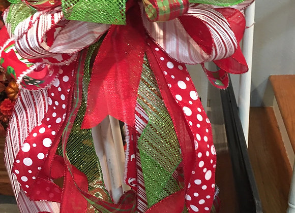 Red, lime green and white large bow/tree topper bow