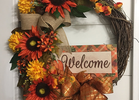 Welcome Fall Sunflower Grapevine Wreath