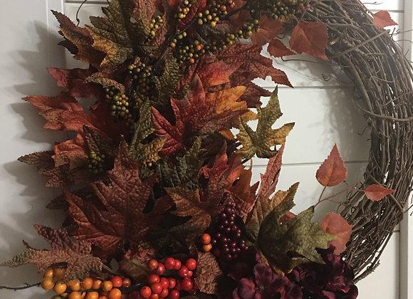 Fall Leaves, Berries and Hydrangeas Grapevine Wreath